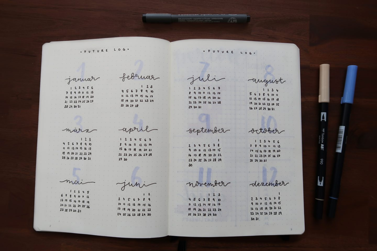 kalender, Notizbuch, stifte, bullet journal
