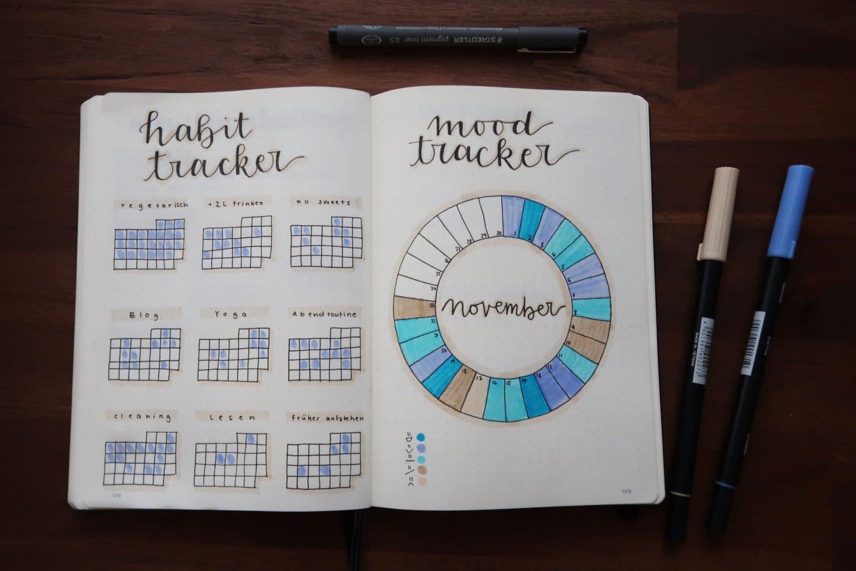 tracker, Notizbuch, Kreis, blau, Stifte