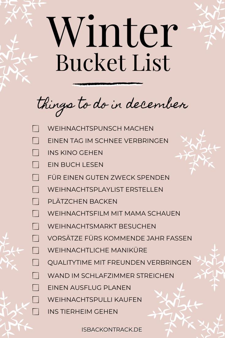 Text, winter bucket list, Dezember