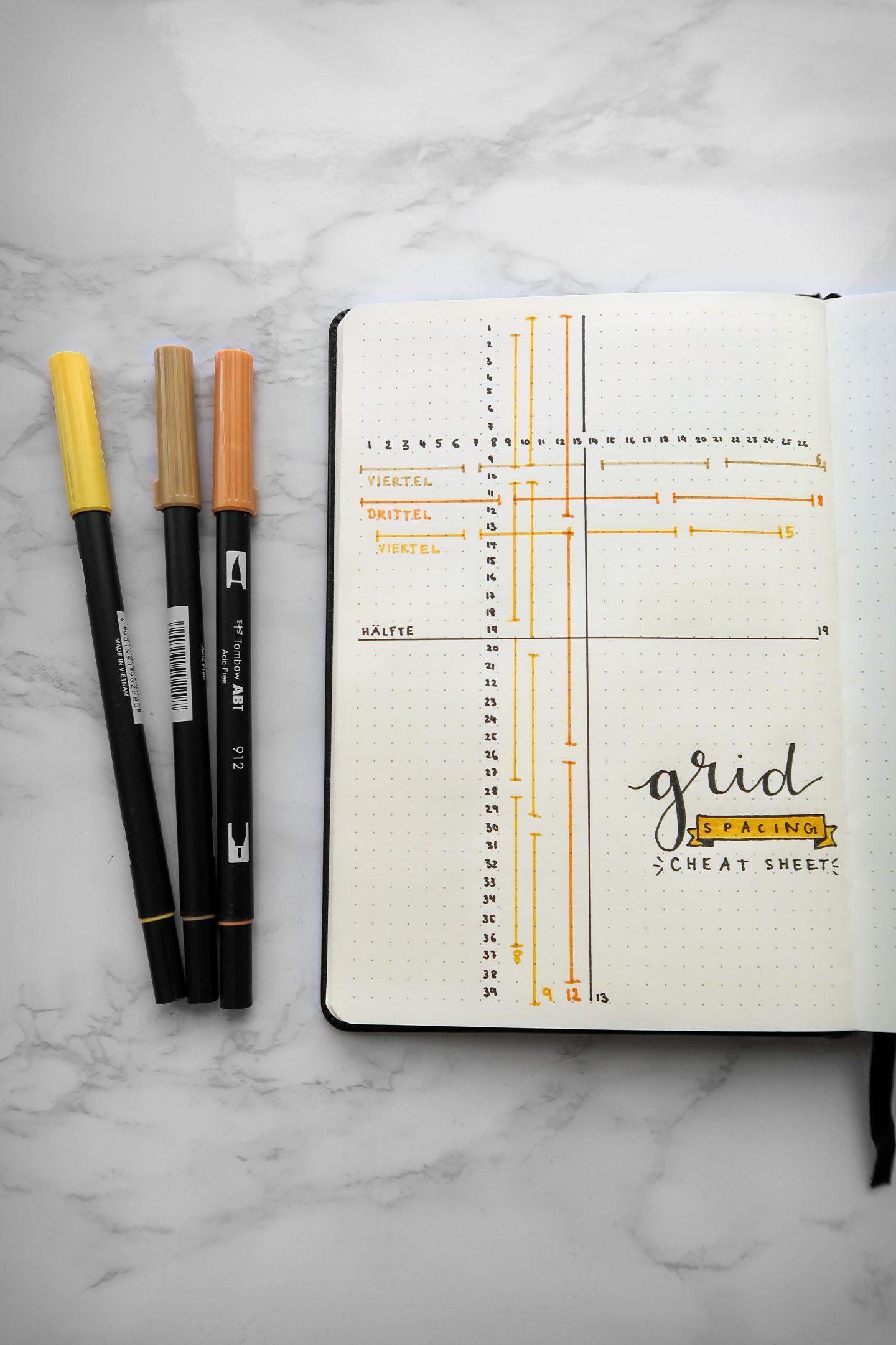 Grid spacing, Buch, Stifte