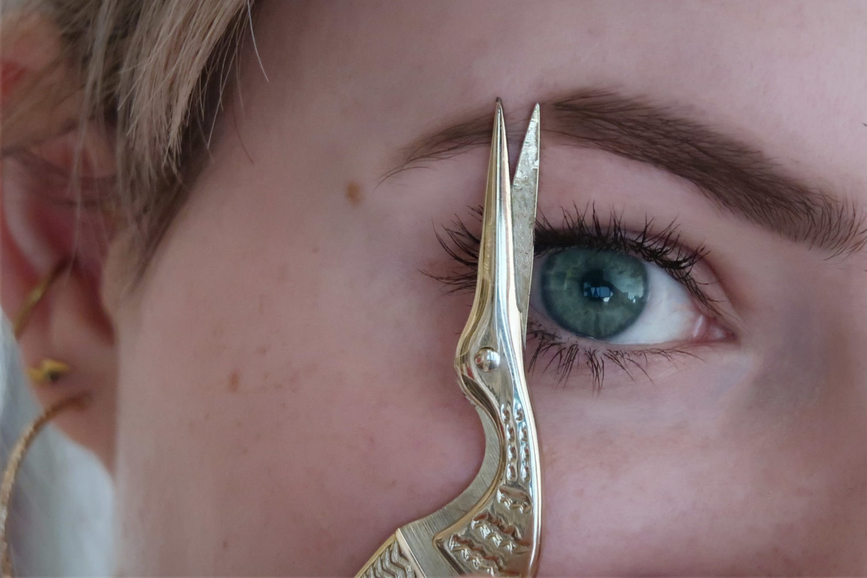 Schere, die Stück aus Augenbraue schneidet, Eyebrow Cut