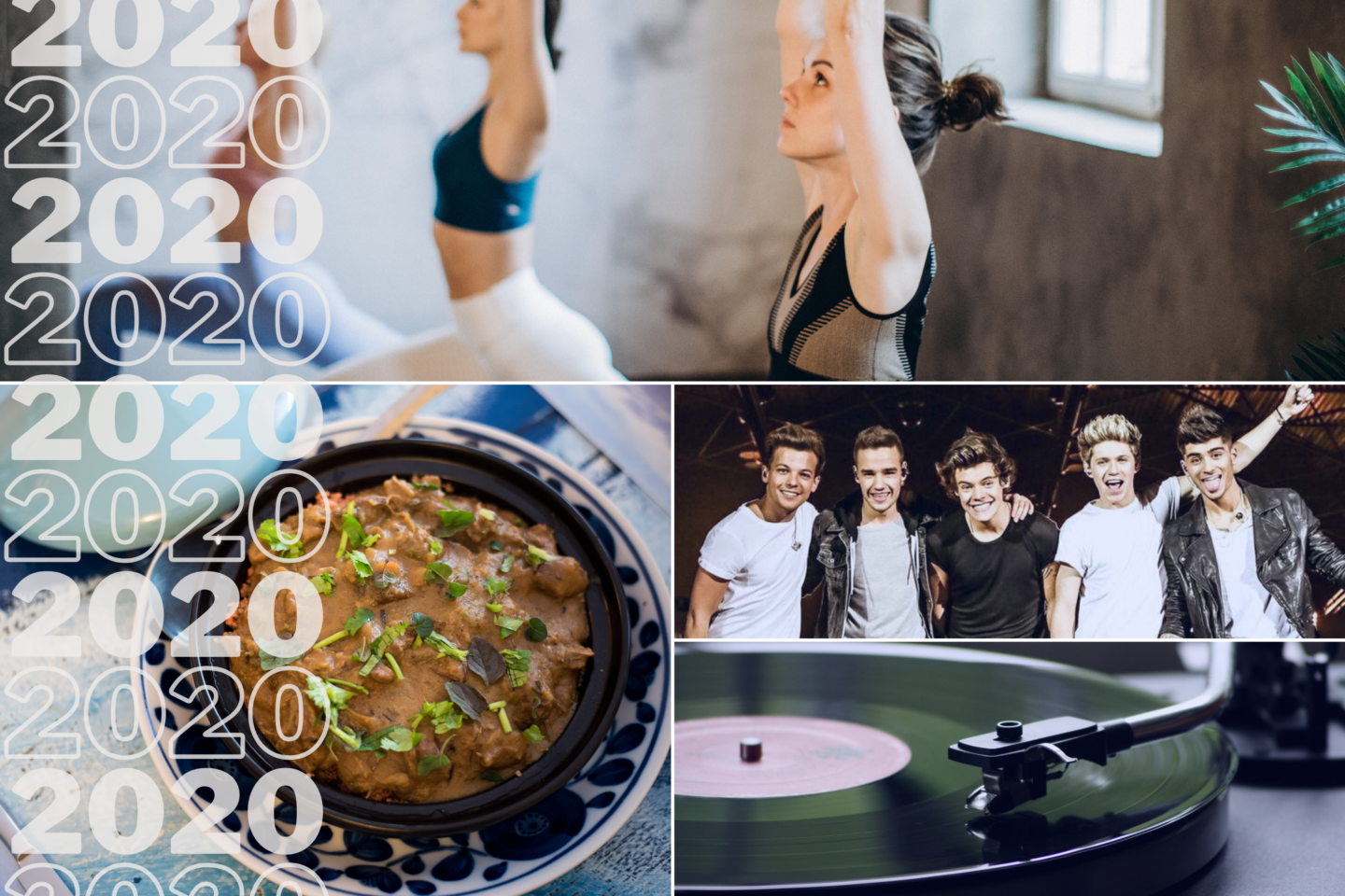 2020, Yoga, Indisches Essen, one direction, Plattenspieler